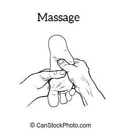 Therapeutic manual massage Medical therapy - illustration of...