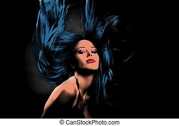 woman in dance motion pop art style - woman in dance motion...
