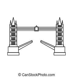 Tower bridge icon, outline style - Tower bridge icon in...
