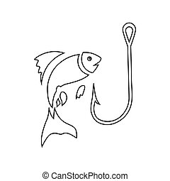 Fishing hook and fish icon, outline style