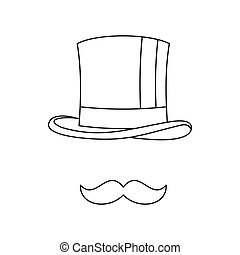 Cylinder and moustaches icon, outline style - Cylinder and...
