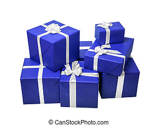 Blue gift boxes with white ribbon.