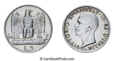 five 5 Lire Silver Coin 1928 acquilino Vittorio Emanuele III...