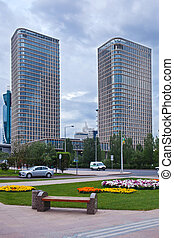 Two modern skyscppers in the Astana city, Kazakhstan