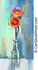 Oil painting still life of red Gerbera flowers in glass vase...