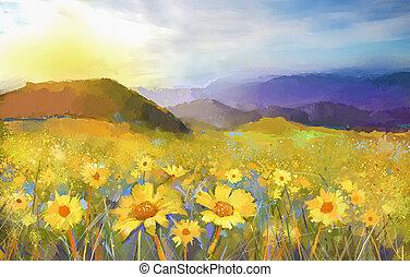 Oil painting Daisy flower blossom,rural sunset landscape