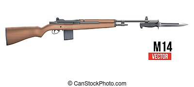 M14 rifle Vector - M14 rifle with knife bayonet. Military...