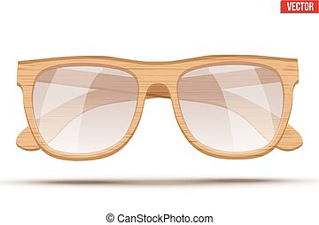 Vintage sunglasses with wooden frame.