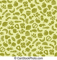 Fruit and vegetables background seamless pattern - Organic...