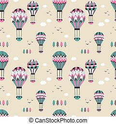 Hot air balloon seamless pattern