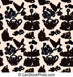 Afternoon tea seamless pattern, exquisite snacks and tea...