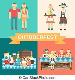 Set of pictures of the celebration of Oktoberfest. Man and woman drinking beer with friends in national costumes. Vector flat cartoon illustration