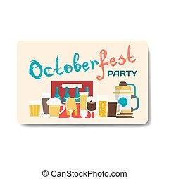 Octoberfest party flyer. Still life of beer mugs, bottles, barrel. Vector flat cartoon illustration