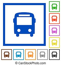 Bus framed flat icons - Set of color square framed bus flat...