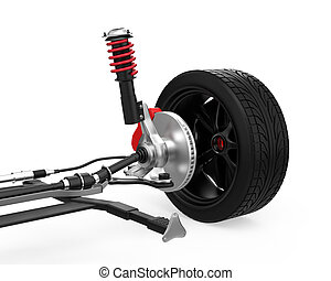 Car suspension on white background