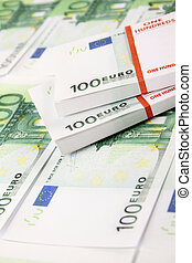 Stack of 100 euro bills - Close-up of euro cash pile of...