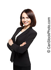 Smiling sucsess business woman portrait. Crossed arms. -...