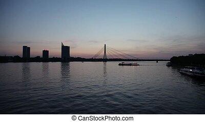 Daugava river with Vansu bridge in - Night view of the...