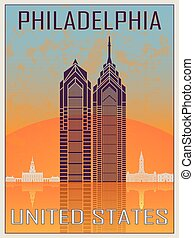 Philadelphia Vintage Poster in orange and blue textured...