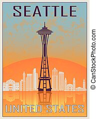 Seattle Vintage Poster in orange and blue textured...