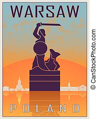 Warsaw Vintage Poster - Warsaw Vintage poster in orange and...
