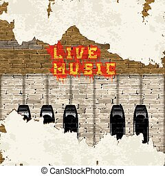 Live Music graffiti on a brick wall