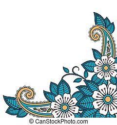 Henna flower and paisley background