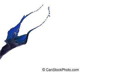 blue color splash slow motion. colored oil - close-up view...