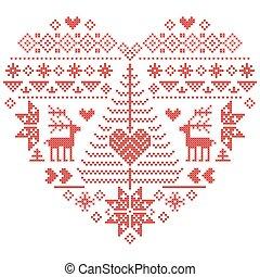 Heart shape nordic pattern