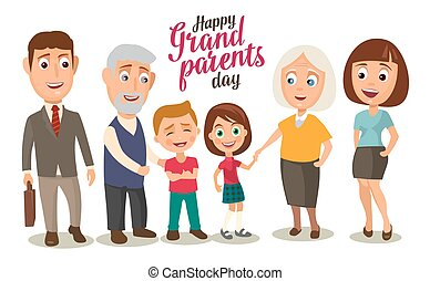 Happy family. Parents, grandparents and childs. Color flat...