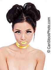 Young asian female with creative makeup - Young asian female...