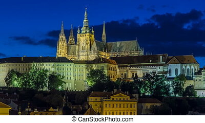 Evening view of Prague Castle and Lesser Town timelapse,...