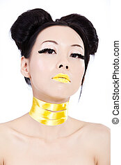 Young asian female with yellow makeup