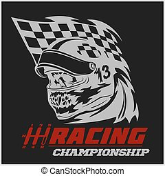 Vintage Skull Checkered Flags Racing - vector emblem