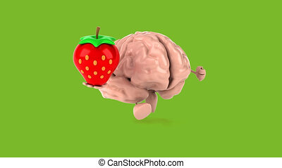 Brain with strawberry - Computer animation