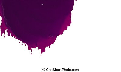purple paint flowing down in slow motion. colored oil -...