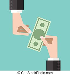 Hands and money - Two hands, one giving paper money banknote...