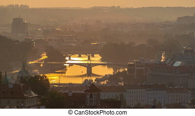 Attractive morning view of Prague bridges and old town...