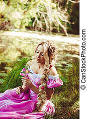 bonito, admirar, flor, sentando, lago, longo, cabelo,...