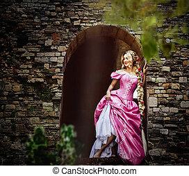 bonito, Cor-de-rosa, Vestido, colete, magnífico, longo,...