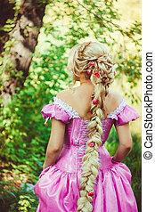 bonito, madeiras, costas, longo, Trança, trançado, cabelo,...