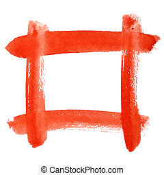Red watercolor frame of brush strokes - space for your own...