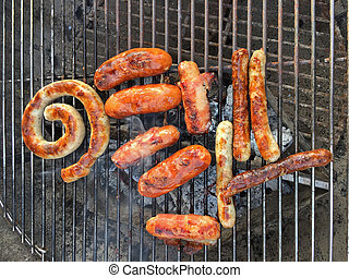 Roll of pork sausage, classic grill sausage, Nuernberger...
