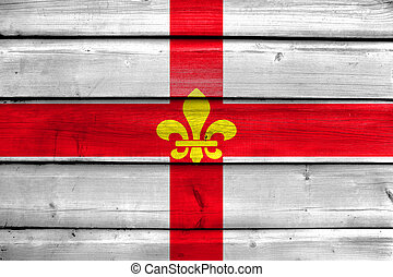 Flag of Lincoln City, England, UK, painted on old wood plank background