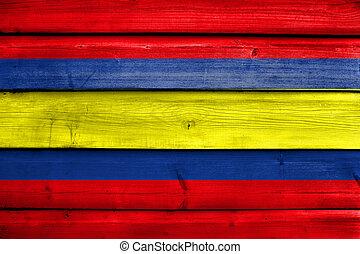 Flag of Loja, capital of Loja Province, Ecuador, painted on...