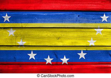Flag of Loja Province, Ecuador, painted on old wood plank...