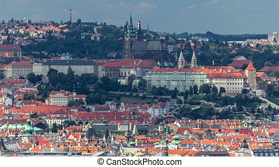 Panoramic view of Prague timelapse from the top of the...