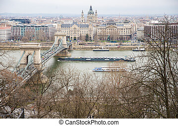 Chain Bridge and  barge  the view from the Buda Castle