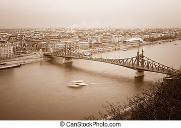Liberty Bridge - top view of the Liberty Bridge in Budapest