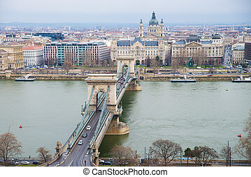 Chain Bridge  the view from the Buda Castle